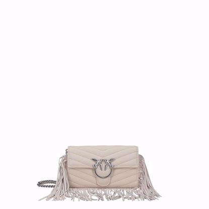 Pinko love bag pochette Fringes white