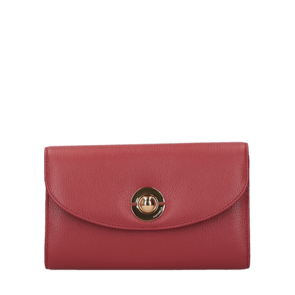 Picture of leather wallet for women with shoulder strap Jalouse red