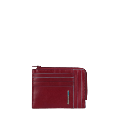 Picture of Zipped coin pouch with document holder and creditcard slots Red