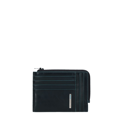 Picture of Zipped coin pouch with document holder and creditcard slots Blue
