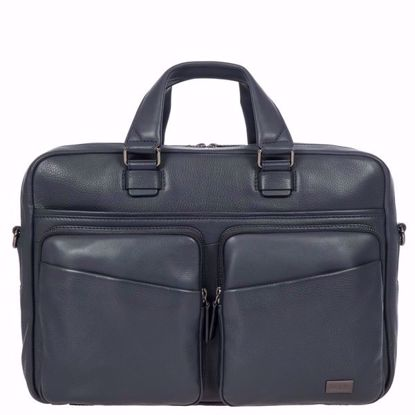 Bric's leather briefcase for laptop Torino navy BR107704.051