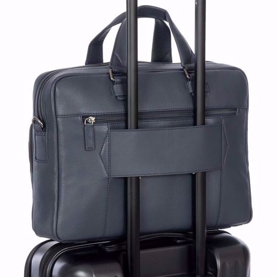 Bric's leather briefcase for laptop Torino slim navy BR107705.051