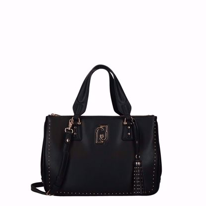 Liu Jo borsa a mano M satchel doppia zip Cool nero, Liu Jo bag M satchel double zip Cool black