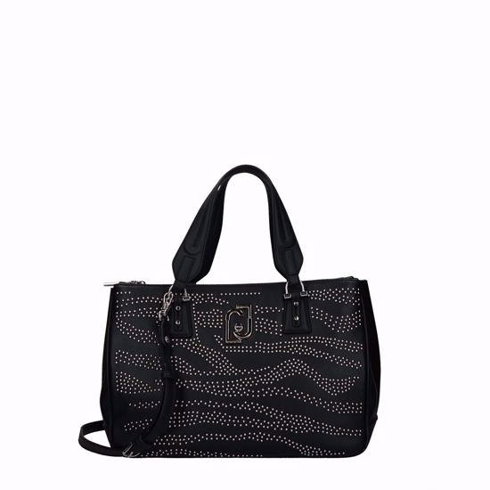 Liu Jo borsa a mano M satchel doppia zip borchie Cool nero, Liu Jo bag M satchel double zip studs Cool black