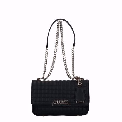 Guess borsa a tracolla Matrix trapuntato nero, Guess crossbody bag Matrix quilted black