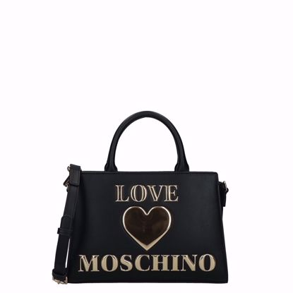 Love Moschino borsa a mano Papped Heart nero, Love Moschino bag M Papped Heart black