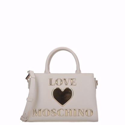 Love Moschino borsa a mano Papped Heart avorio, Love Moschino bag M Papped Heart ivory