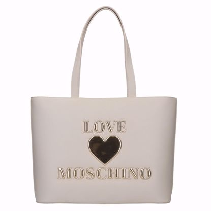 Love Moschino borsa shopping Papped Heart avorio, Love Moschino shopping bag Papped Heart ivory