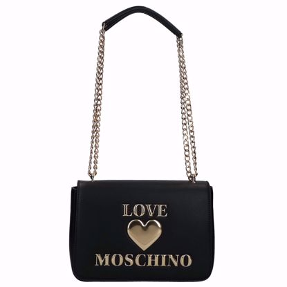 Love Moschino borsa a spalla Papped Heart nero, Love Moschino bag Papped Heart black