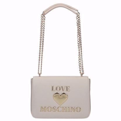 Love Moschino borsa a spalla Papped Heart avorio, Love Moschino bag Papped Heart ivory