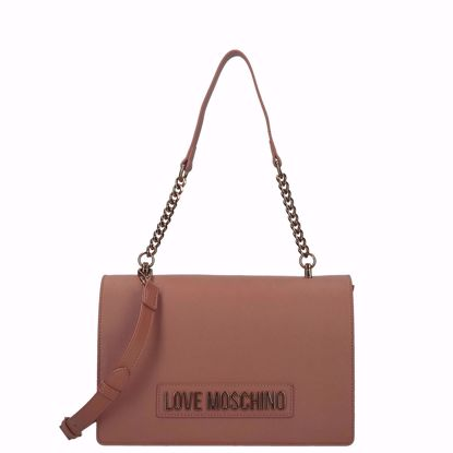 Love Moschino borsa a spalla logo Smooth cuoio, Love Moschino bag Smooth brown