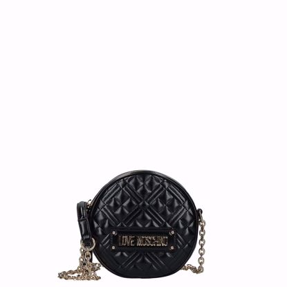 Love Moschino borsa a tracolla Quilted lucido nero, Love Moschino crossbody bag Quilted round black