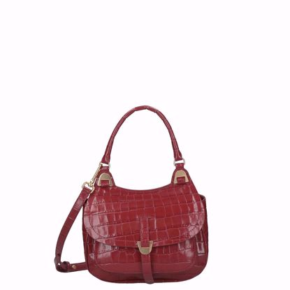 Coccinelle bag Fauve Croco Shiny Soft foliage red, Coccinelle borsa a mano fauve croco shiny soft foliage red