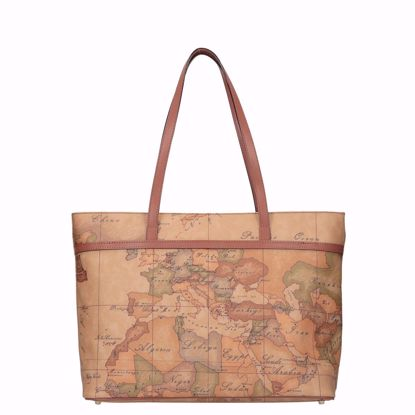 Alviero Martini shopping bag with zip Geo Classic natural, Alviero Martini con cerniera borsa shopping Geo Classic natural