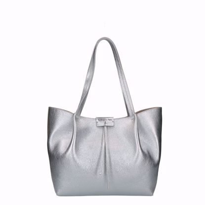 Patrizia Pepe borsa shopping Pepe City M silver, Patrizia Pepe shopping bag Pepe City M silver