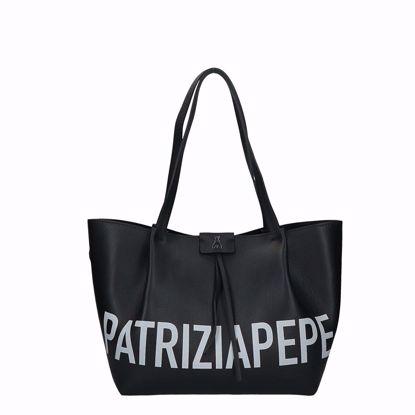 Patrizia Pepe borsa shopping Pepe City M logo nero, Patrizia Pepe shopping bag Pepe City logo black