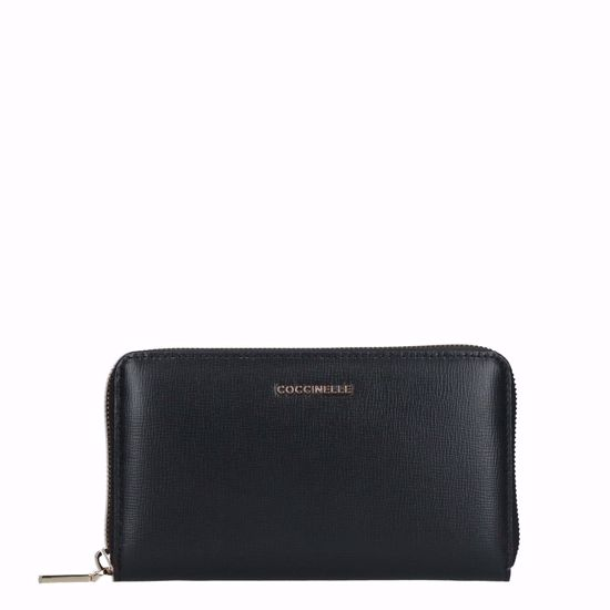 Coccinelle portafogli donna Metallic Soft saffiano nero, Coccinelle woman's wallet Metallic Soft black