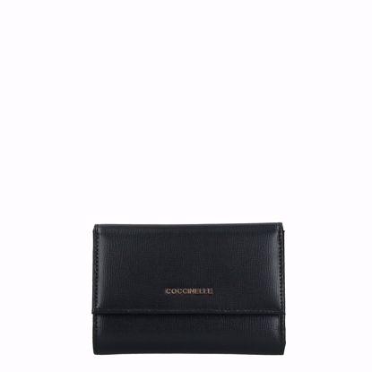 Coccinelle portafogli donna Metallic Soft saffiano nero, Coccinelle women's wallet Metallic Soft saffiano black