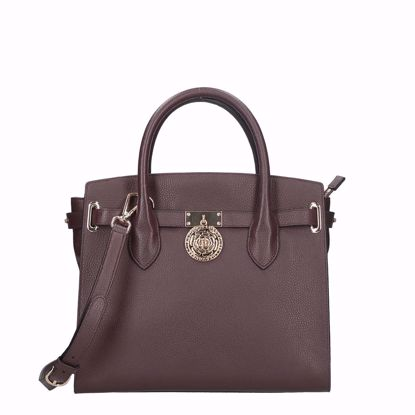 Guess borsa a mano in pelle Luxe burgundy, Guess bag Luxe leather burgundy