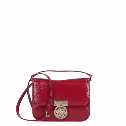 Guess borsa a tracolla lucida Luxe red, Guess crossbody bag shiny Luxe red