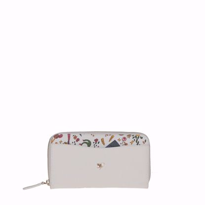 Piero Guidi portafogli donna in pelle Magic Circus bianco, Piero Guidi woman's wallet Magic Circus leather white