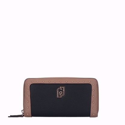Liu Jo portafogli donna con cerniera nero nuez, Liu Jo woman wallet with zip black nuez