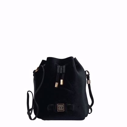 Save My Bag bucket bag Bulle Velvet black, Save My Bag borsa a secchiello Bulle Velvet nero