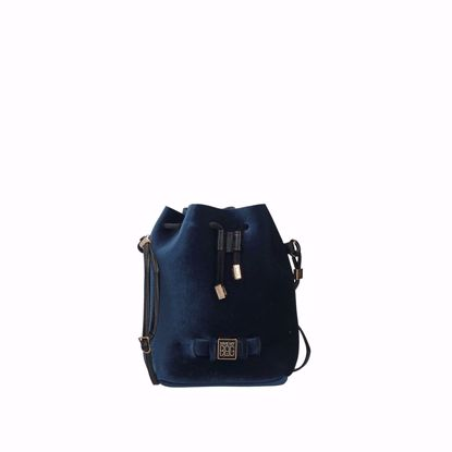 Save My Bag borsa a secchiello Bulle Velvet blu scuro, Save My Bag bucket bag Bulle Velvet dark blue