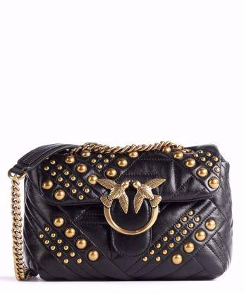 Pinko Mini Love Bag Puff Woven Studs - Black
