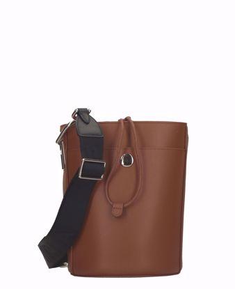Furla borsa a secchiello Lipari cognac nero, Furla bucket bag Lipari cognac black