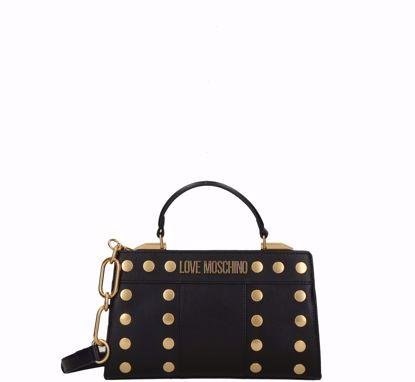 Love Moschino bag S Gold Studs black, Love Moschino borsa a mano Gold Studs nero
