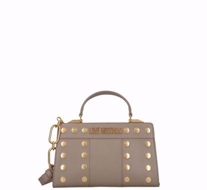 Love Moschino borsa a mano Gold Studs grigio, Love Moschino bag S Gold Studs grey