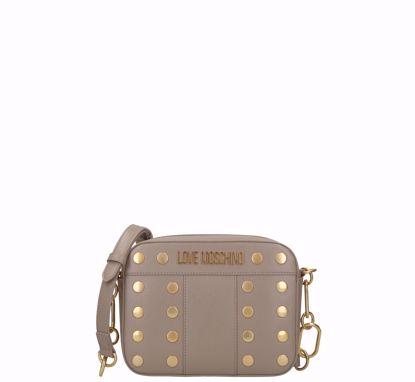 Love Moschino crossbodybag Gold Studs grey, Love Moschino borsa a tracolla Gold Studs grigio