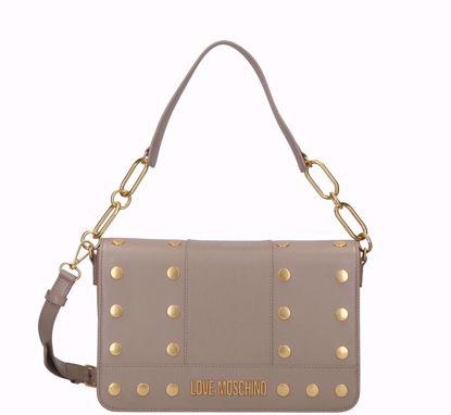 Love Moschino borsa a spalla Gold Studs grigio, Love Moschino bag Gold Studs grey