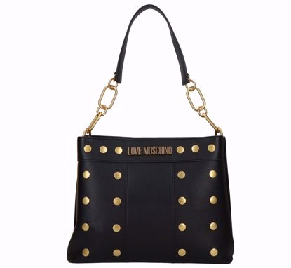 Love Moschino borsa a sacca Gold Studs nero, Love Moschino bag M Gold Studs black