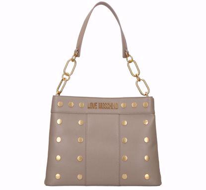 Love Moschino bag M Gold Studs grey, Love Moschino borsa a sacca Gold Studs grigio