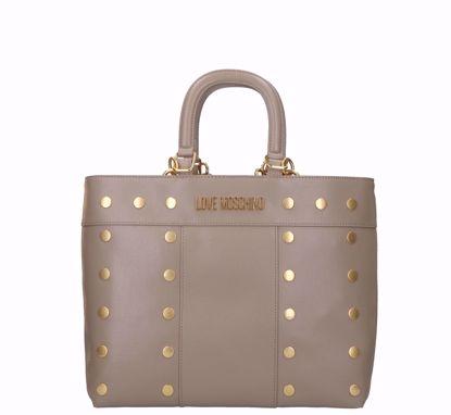 Love Moschino borsa a mano Gold Studs doppia portabilità grigio, Love Moschino bag Gold Studs double portability grey