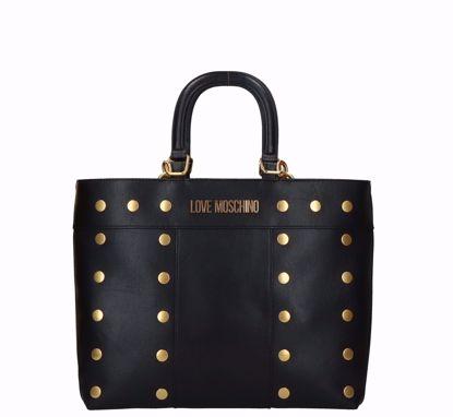 Love Moschinoborsa a mano Gold Studs doppia portabilità nero, Love Moschino bag Gold Studs double portability black