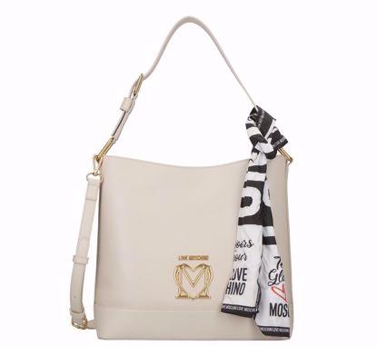 Love Moschino bucket bag Logo ivory, Love Moschino borsa a secchiello Logo avorio