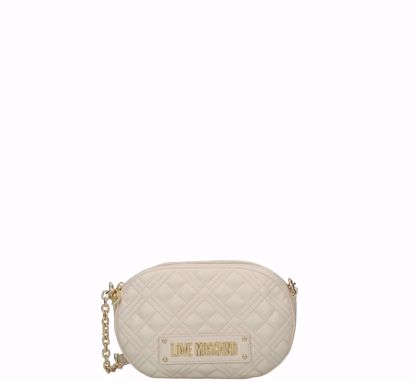 Love Moschino crossbody bag Quilted Nappa oval ivory, Love Moschino borsa a tracolla Quilted Nappa ovale avorio