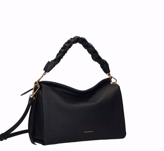 Coccinelle borsa a spalla Boheme nero caramello, Coccinelle bag Boheme black caramel