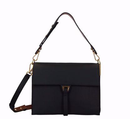 Coccinelle borsa a spalla Louise noir caramel, Coccinelle bag Louise noir caramel