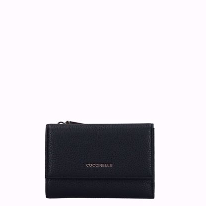 Coccinelle portafogli donna Metallic Soft pelle nero, Coccinelle women's wallet Metallic Soft leather black