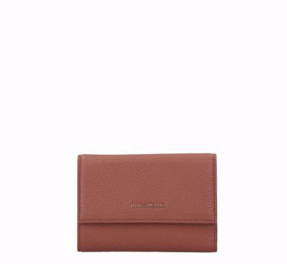 Coccinelle women's wallet Metallic Soft with flap cinnamon, Coccinelle portafogli donna Metallic Soft con patella cinnamon