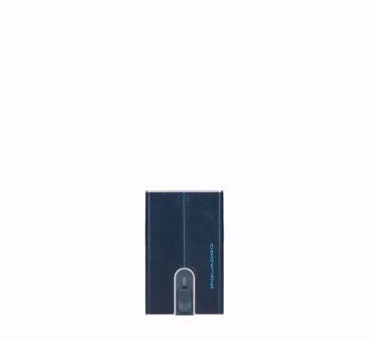 Piquadro Blue Square porta carte di credito con sliding system blu, Piquadro Blue Square credit card holder with sliding system blue