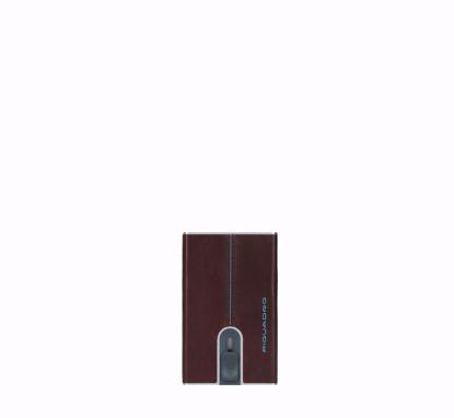 Piquadro Blue Square porta carte di credito con sliding system mogano, Piquadro Blue Square credit card holder with sliding system mogano