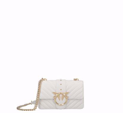 Pinko Mini Love Bag Icon V Quilt mix in nappa white gold