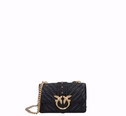 Pinko Mini Love Bag Icon V Quilt mix in nappa black gold