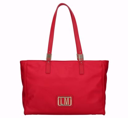 Love Moschino shopping bag LM Plaque red, Love Moschino borsa shopping LM Plaque rosso
