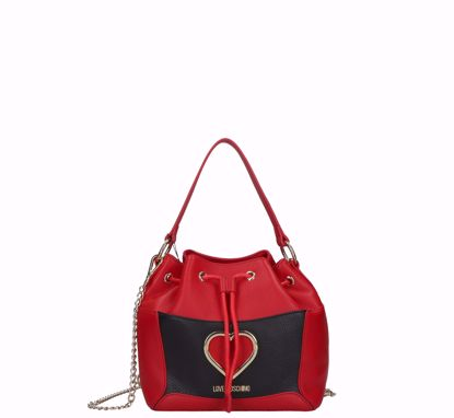 Love Moschino bucket bag Grained red black